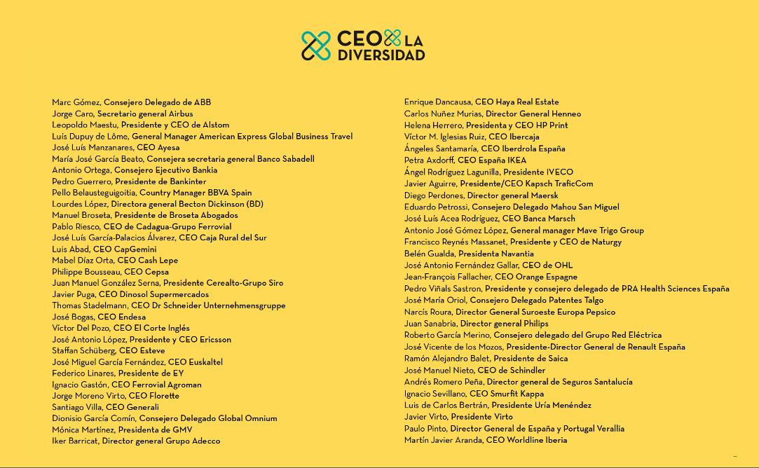 CEOs adheridos a la Alianza CEO por la diversidad