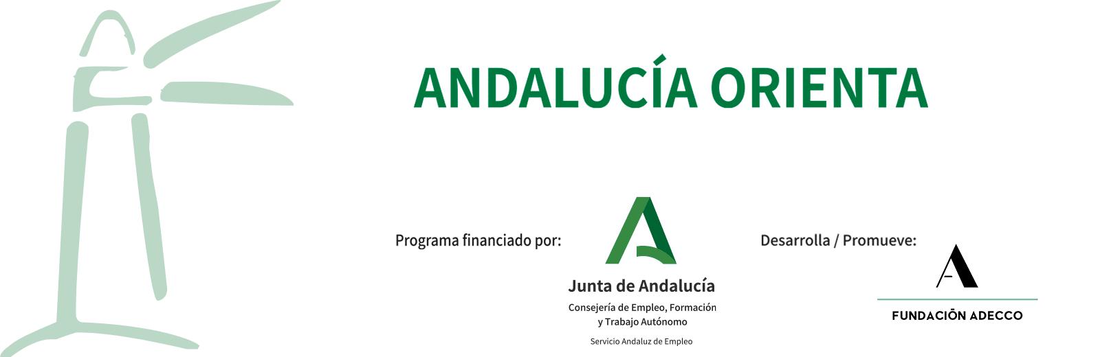 Imagen programa Andalucía Orienta con logo de la Junta de Andalucía y logo de la Fundación Adecco