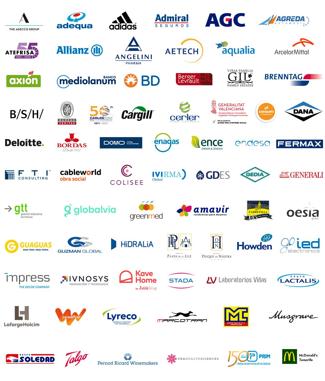Logotipos de empresas comprometidas con la semana de la mujer 2021