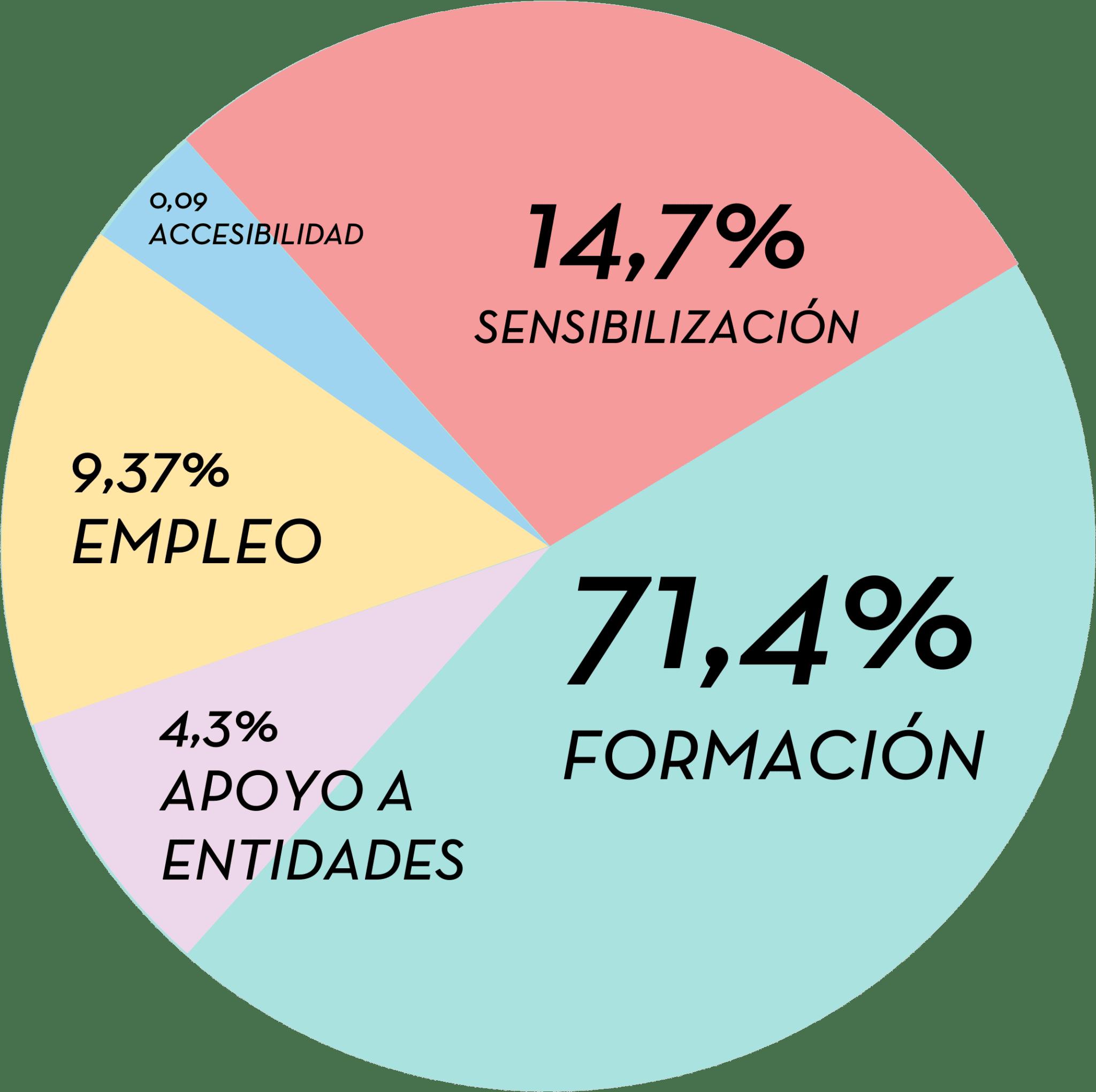 Desde el punto de vista de actividades, la inversión social se destino: 71,4% a formación, 14,7 a sensibilización, 9,37% a empleo, 4,3% a apoyo a otras entidades y un 0,09% a accesibilidad