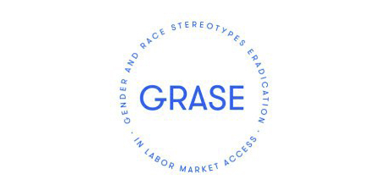 Logotipo GRASE. Texto: gender and race stereotypes eradication in labor market access