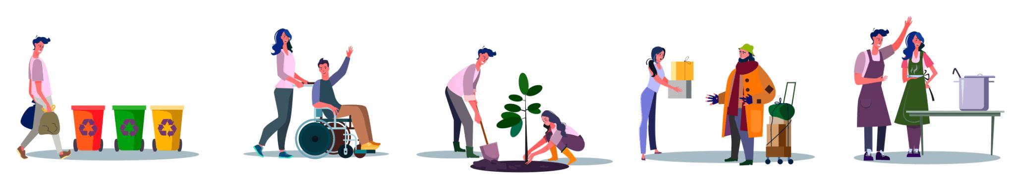 Ilustraciones con personas participando en diferentes tipos de voluntariados